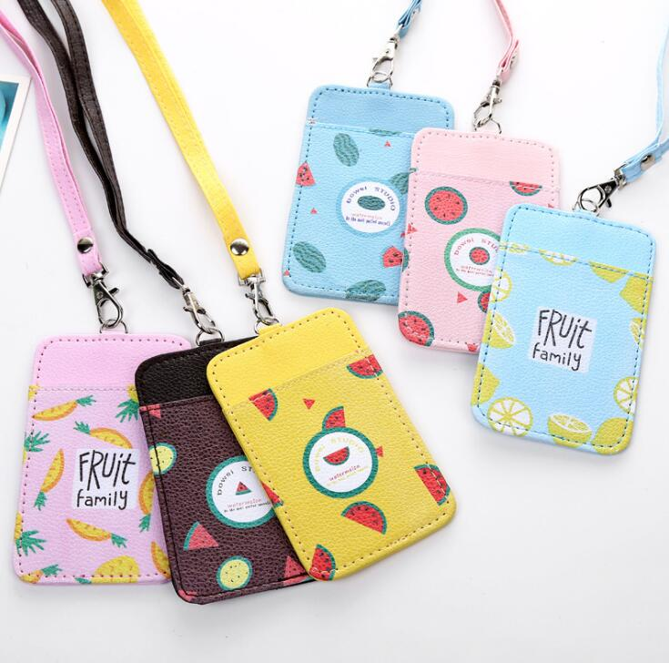 Cute Fruit Card Holder Identity Badge With Lanyard PU Neck Strap Card Bus ID IC Holders With Key Chain