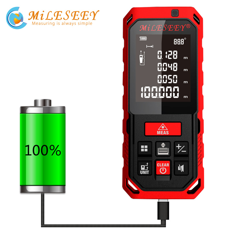 Mileseey Rechargeable Laser Rangefinder  New Arrival S7 40m Laser Distance Meter Laser Measure Angle  Tools Diastimeter Red new arrival multifunctional distance meter 4 500m laser rangefinder shimmer infrared ray night visions not including battery