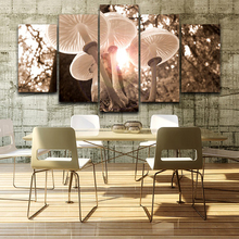 Living Room HD Printed Modern Painting 5 Panel Mushrooms Landscape Modular Decor Poster Picture On Canvas Wall Art Home Frame