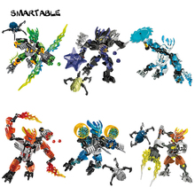Smartable BIONICLE 6 pcs set Jungle Rock Water Earth Ice Fire figures 706 Building Block Toy