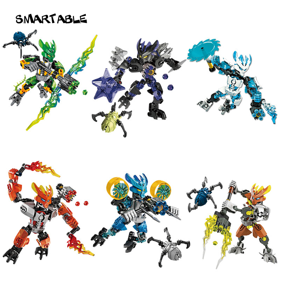 Smartable BIONICLE 6 pcs set jungle Rock Water Earth Ice Fire figures 706 Building Block toys