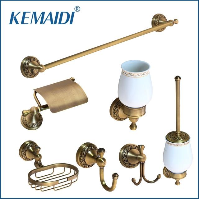 Us 14 5 45 Off Kemaidi Bathroom Accessories Antique Brass Towel Ring Paper Holder Toilet Brush Bath Rack Soap Dish Makeup Mirror In Bath