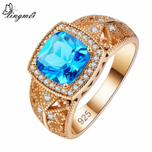 lingmei New Fashion Square Blue & White Cubic Zirconia Rose Gold Color Ring Size 6 7 8 9 Luxury Wedding Party Women Jewelry Gift
