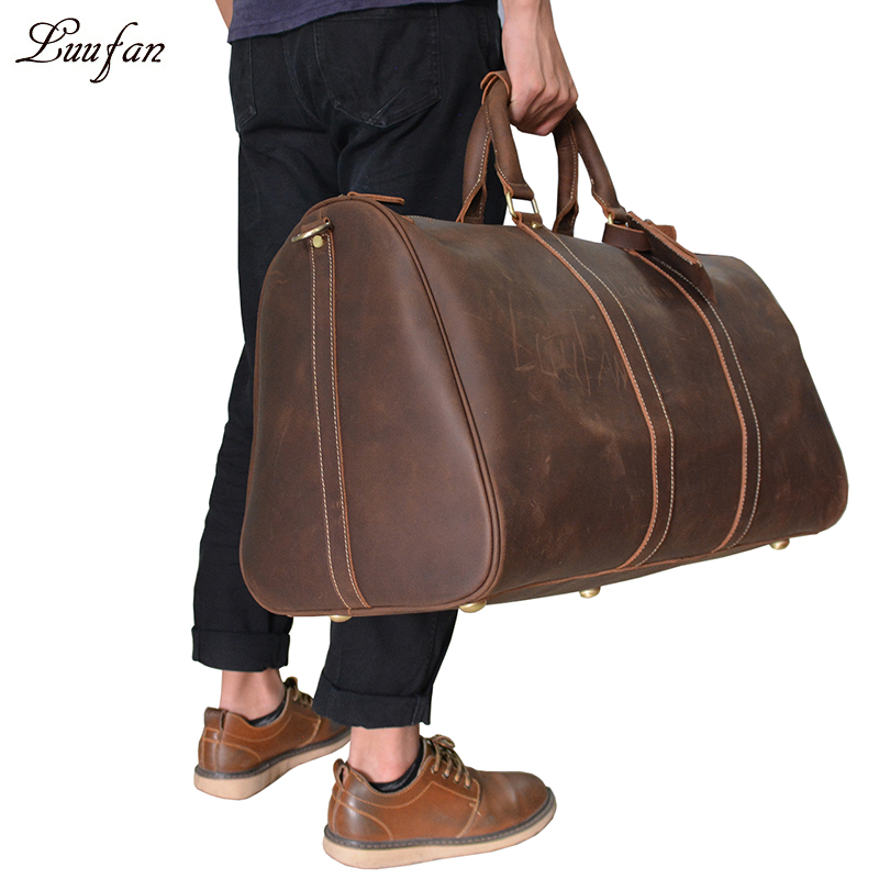 Unisex Vintage crazy horse leather weekend bag 24 Men Thickness Real leather tote Big Genuine leather