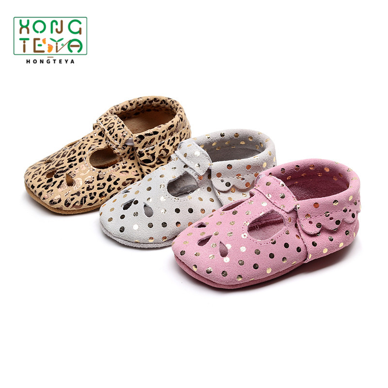 Drop Shipping Summer T-strap Baby Shoes Genuine Leather  Baby Girl Soft Shoes Hollow Breathable Non-slip Fashion Crib Shoes