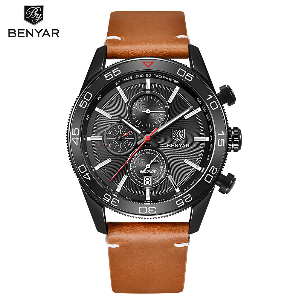 BENYAR Fashion Business Men Luxury Brand Quartz Watch Mens Waterproof Sport Chronograph Watches relogio masculino Clock Male fashion luxury waterproof analog men sport watch chronograph mens leather watches male clock quartz wristwatch relogio masculino