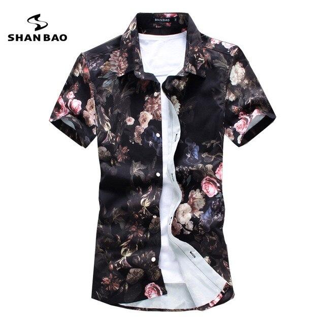 84903b1accb SHANBAO marque rétro style fleur de luxe aristocratique mode chemise à manches  courtes hommes d