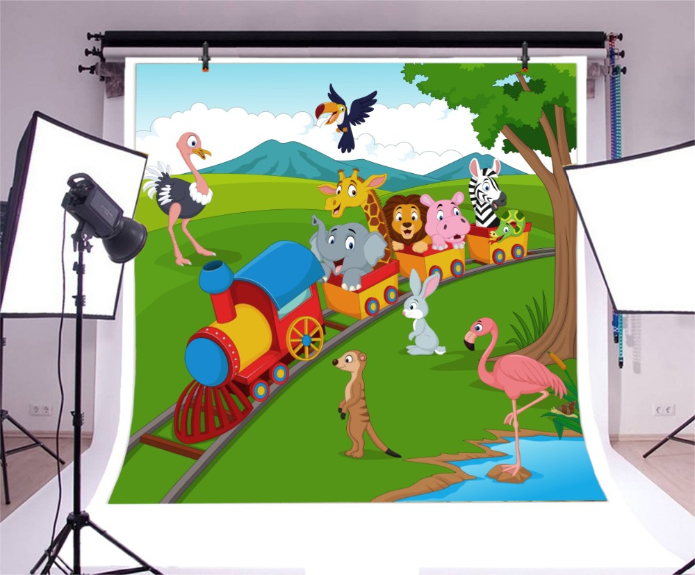 Laeacco Cartoon Train Safari Party Scene Baby Newborn Photographic Backdrops Customized Photography Backgrounds For Photo Studio