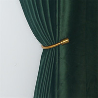 Luxury European Velvet Curtains Dark Green Window Curtain Solid Color Blackout Curtains for Bedroom and Living Room