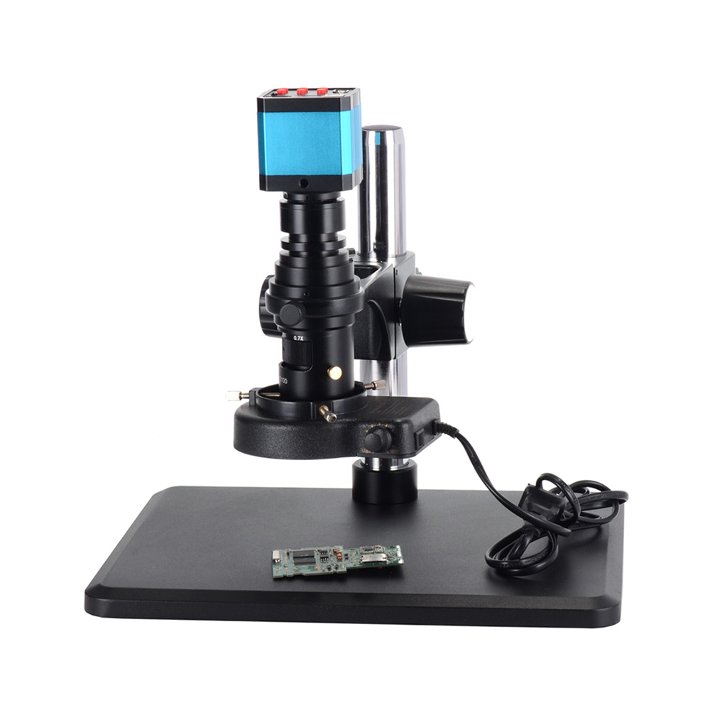 14MP HDMI <font><b>USB</b></font> <font><b>Microscope</b></font> Camera 0.7X-5X HD Zoom Lens 100mm Working Distance <font><b>200X</b></font> Parfocal Monocular Lens with Heavy Plain Stand image