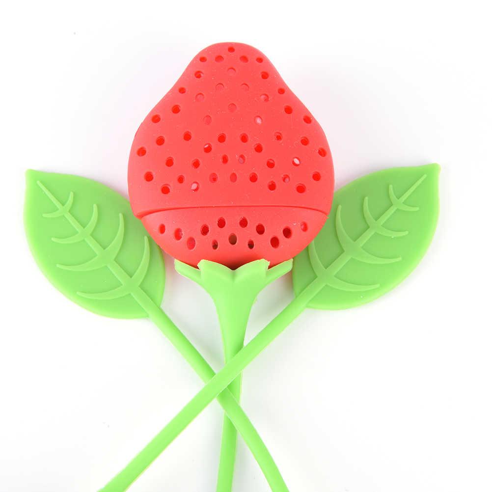 Top Kwaliteit Aardbei Loose Tea Leaf Zeef Herbal Spice Zetgroep Filter Diffuser Nuttig Siliconen Theepot Diffuser