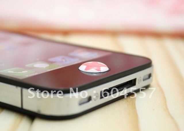 Hotsale! Home Button sticker for APPLE iPhone 4 4s iPad iTouch diy phone decoration+ Free shipping +120pcs(20sets)