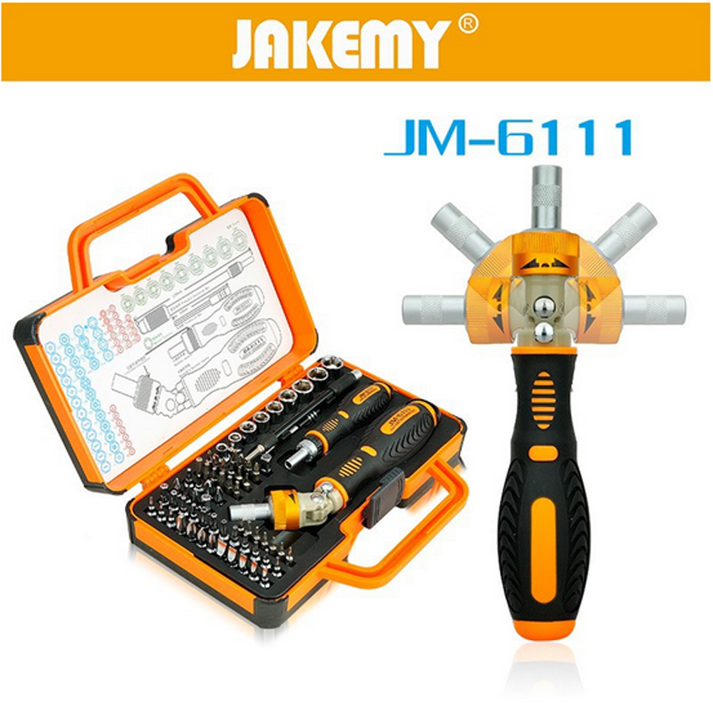JAKEMY-6111 69pcs Electronics Hardware Mobile Phone Laptop Repair Tools Precision Screwdriver Bits Set Rotatable Ratchet Handle