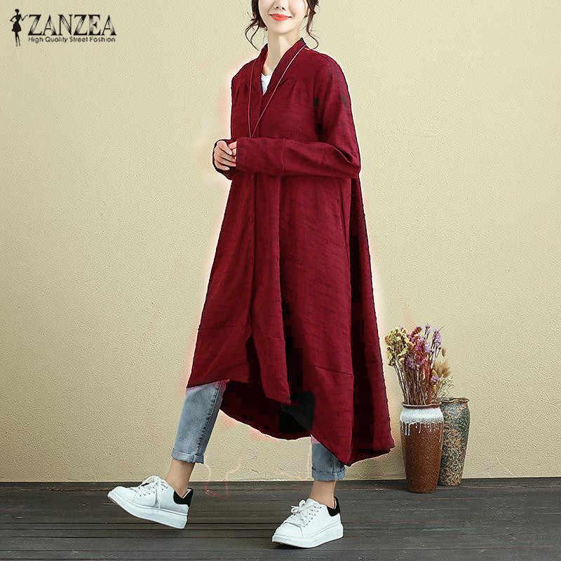 ZANZEA 2018 Fashion Women Autumn Long Sleeve Casual Work Dress Oversized  Loose Elegant V Neck Maxi 60633a979e0e