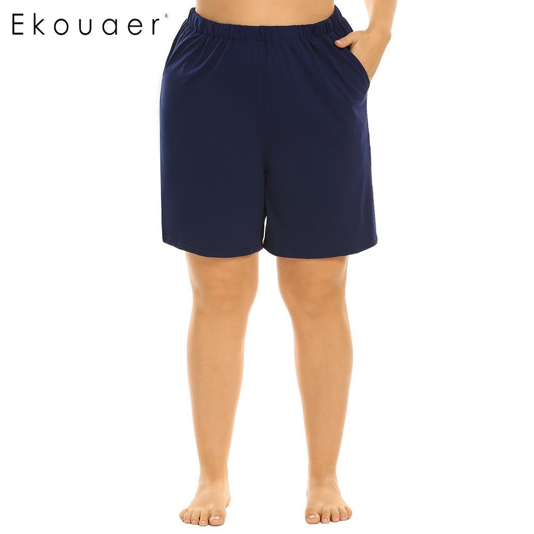 Ekouaer Plus Size Women Elastic Waist Short Pants Pajama Sleep Bottom Soft Loose Lounge Sleepwear Pants Female Nightwear XL-5XL
