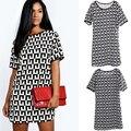 Women European Style O Neck Printing Summer Short Sleeve Dress