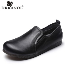 DRKANOL New Design Spring Vintage Genuine Leather Slip On Casual Loafers For Women Flat Shoes Cow Leather Flats Ladies Shoes whensinger 2018 new spring new shoes buckle strap flats genuine leather fashion design 8567