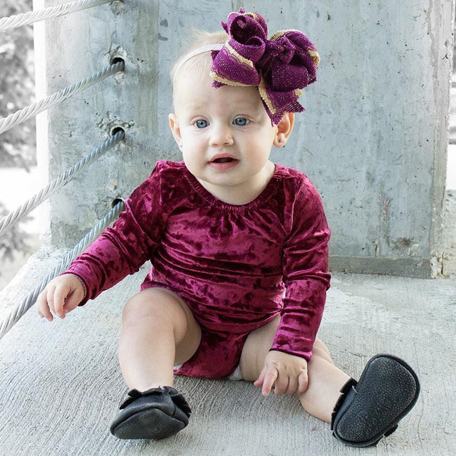 19e2b0e45f53 Fashion Baby Clothes Velvet Infant Romper Solid Wine Red Color ...