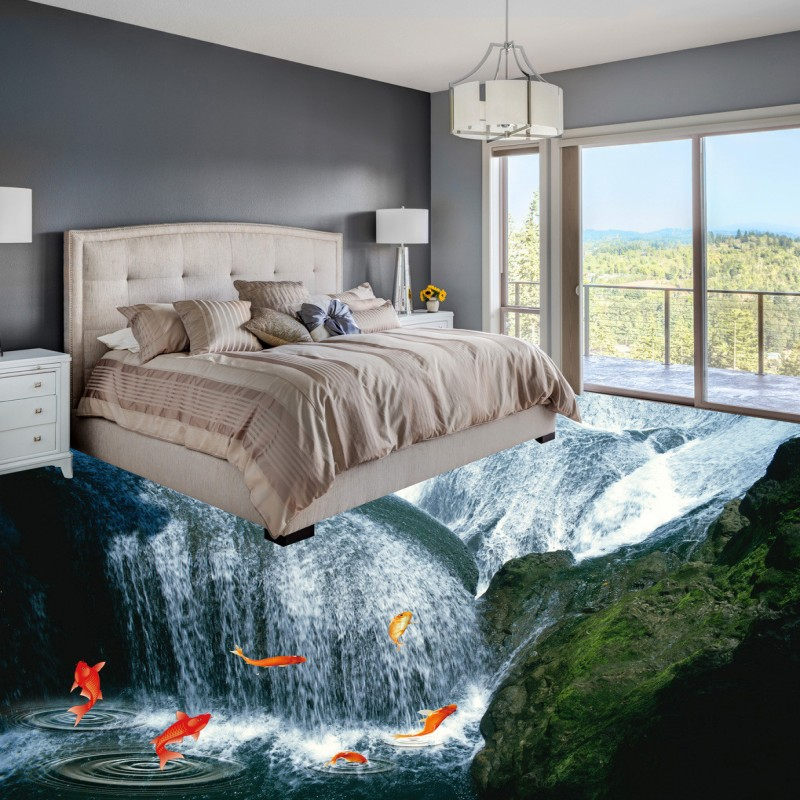 Free Shipping Waterfall 3D ground paste painting non-slip wear waterproof self-adhesive bathroom floor wallpaper mural