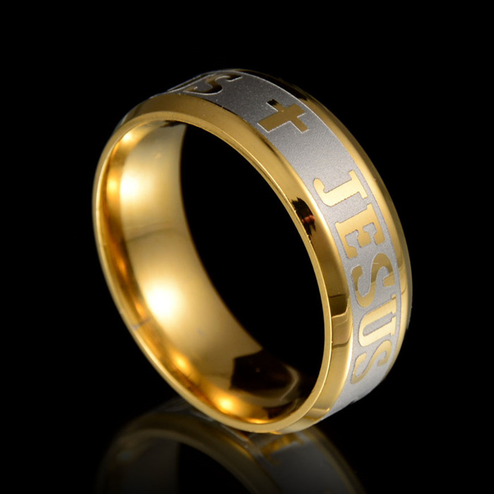 High quality large size 8mm 316 Titanium Steel 14KGP jesus cross Letter bible wedding band ring men women