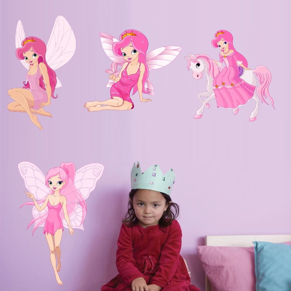 Fairy Princess Batterfly Wall Decals For Girls Baby Bedroom Vinyl Wall Sticker Home Decor Removable Wallpaper For Christmas Gift (4)