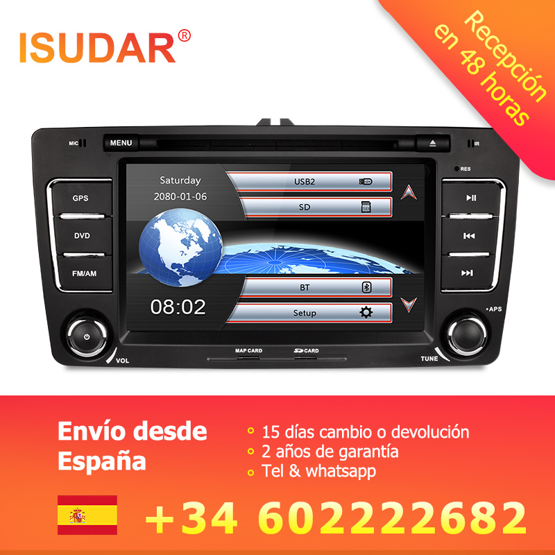 2 Isudar Car Multimedia player GPS Autoradio Din 7 Polegada Para SKODA Octavia 2009-2013 Bluetooth IPOD FM Rádio RDS WIFI DVR SD