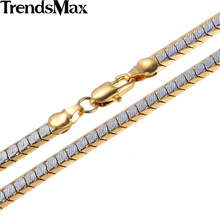 Trendsmax 3/4/5mm Womens Mens Chain Unisex Boys Girls Scales Nugget White Yellow Gold Filled Necklace Wholesale Jewelry GNM93