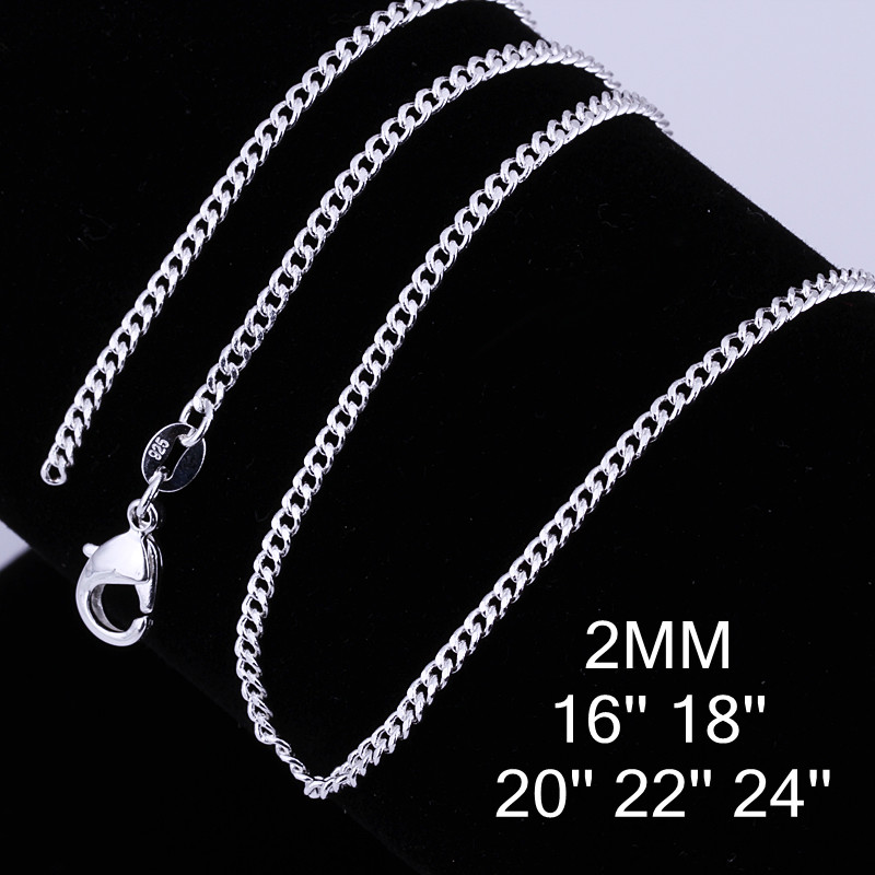 """Hot Sale 1PC Pure silver plated Chain Necklace With Big Discount 16""""-30""""Popular Flat Curb Design Jewelry Top Quality(China)"""