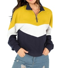 Zogaa Street Wear for Girls Sweatshirt Clothes Women Patchwork Long Sleeve Blouse Zipper Pullover Tops Color Stitching Clothes все цены