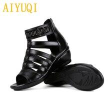 AIYUQI women sandals 2019 summer new women genuine leather sandals, large size 41 42 43 rhinestones Roman sandals ladies mother