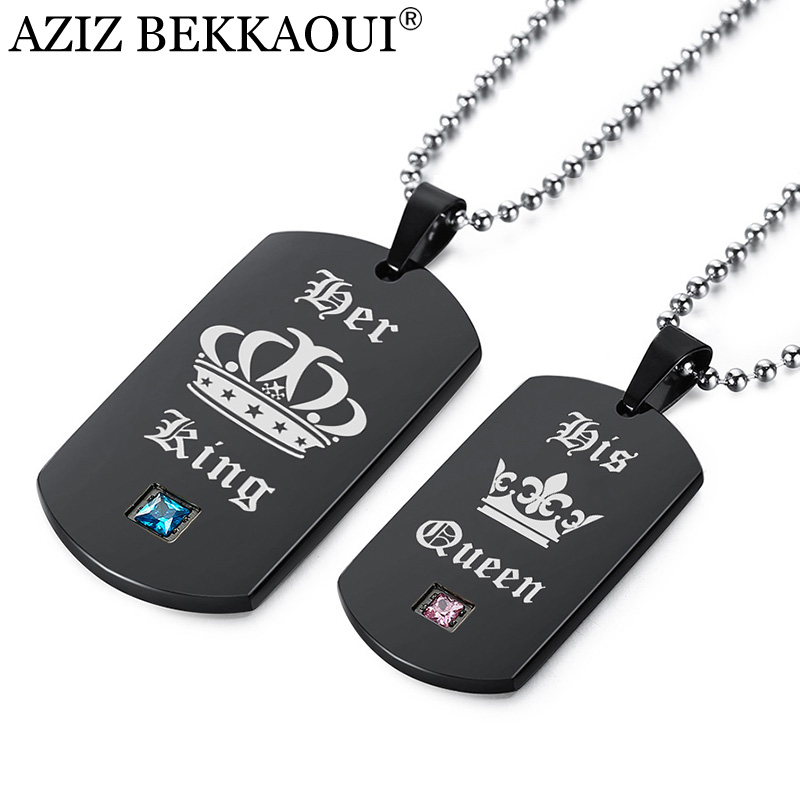 AZIZ BEKKAOUI Her King & His Queen Couple Necklaces with Crown Black Pendant Necklace for Lover Best Gift Dropshipping
