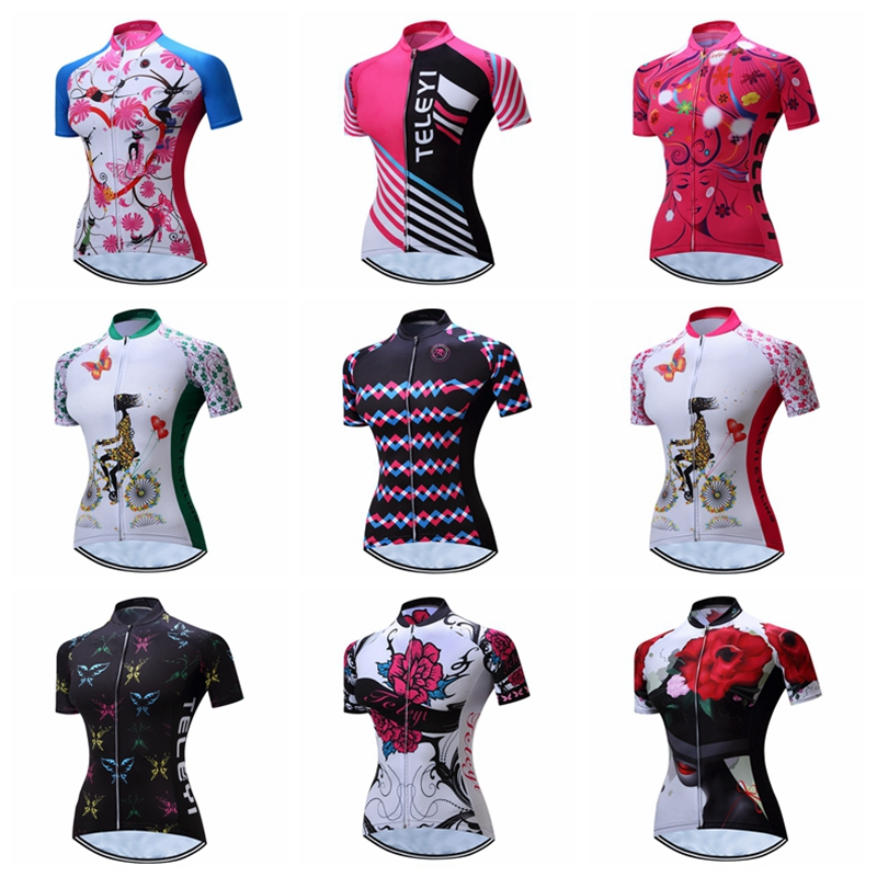 TELEYI 2019 Women Cycling Jersey Tops Bike MTB Jerseys Short Sleeve Maillot Ciclismo Girls Outdoor Breathable Bicycle Clothing