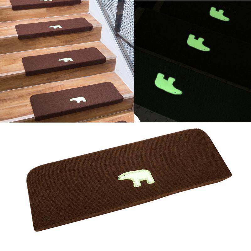 Non Slip Luminous Carpet Stair Treads Shine at Night Bear Anti-Skid Stairs Rug