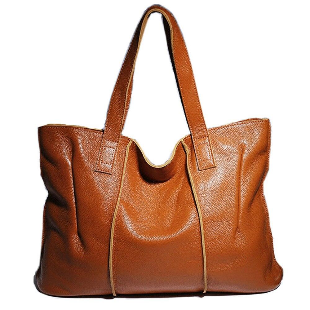 Genuine Leather Handbag Hobos Large Capacity Women Shoulder Bag Retro Tote Purse Brown Shopping Bags