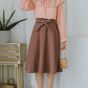 Image 3 - Elegant Women Skirt High Waist Pleated Knee Length Skirt Vintage A Line Big Bow Skirts