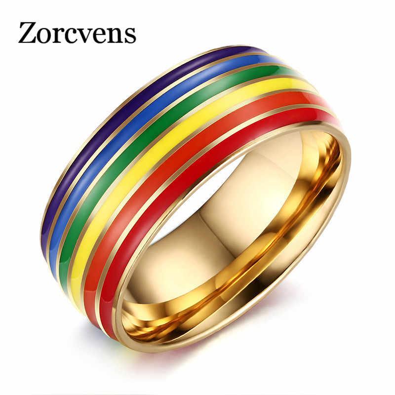 2019 ใหม่แฟชั่นเกย์ Pride แหวนสำหรับสตรีและผู้ชายเครื่องประดับสแตนเลสหมั้นแหวนขนาดทั้งหมด