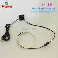 USB 1M 1 3mm Transparent Blue EL Wire Flexible Neon Light Glow Rope Tape Cable Strip
