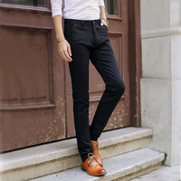 Garnitury męskie Wiosna Zima Skinny Ołówek Elastyczne Spodnie Casual High Quality Eleganckie Biznes Wear Slim Fit Długie Proste Spodnie