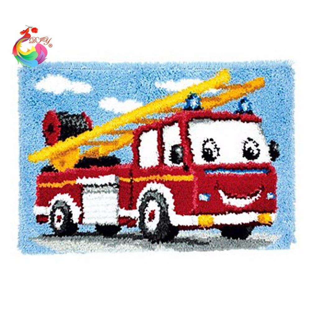 Ganchos de cierre Tapetes kit DIY Unfinished crocheting Hilado Esterillas Ganchos de cierre Tapetes kit Almohadas Alfombras coche de dibujos animados hilos para el bordado