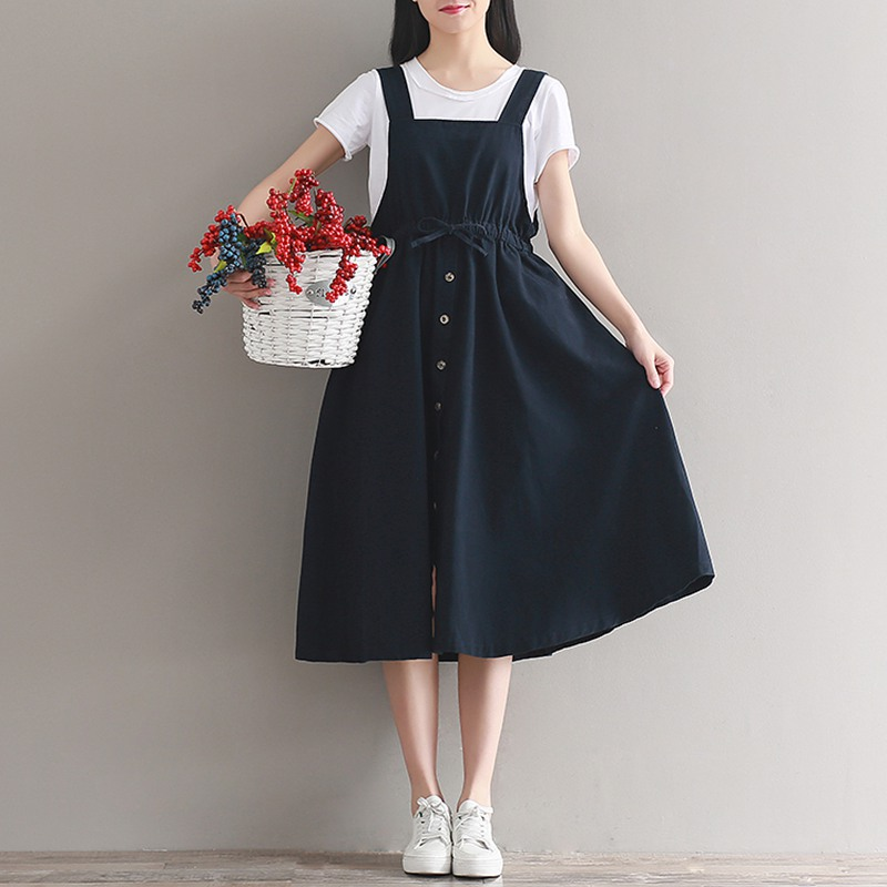 Mferlier Women Cotton Dress Casual Sundress Spaghetti Strap Ladies Dresses High Waist Sleeveless Summer Dresses Casual Clothing