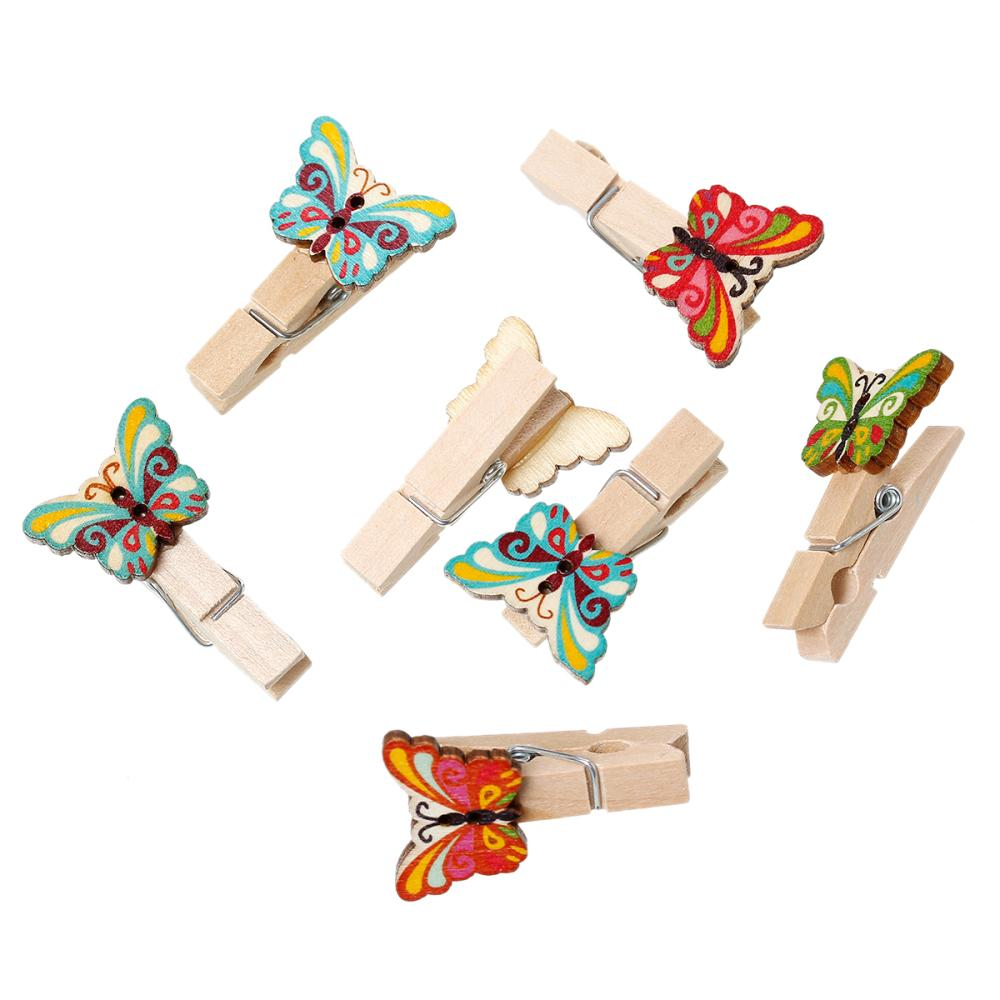 Wood Clothespin Wood Crafts Home Decoration Clips Note Pegs At Random Butterfly 3.9cm x 23.0mm, 50 PCs 2016 new