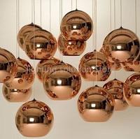 LukLoy 1pc Modern Dixon Style Mirror Glass Ball Pendant Lights Copper Color Globe Lamp Pendant Light Modern Lighting Fixtures