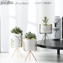 Nordic Marble Pattern Vase Ceramic Iron Art Vase Rose Gold Silver Tabletop Green Plant Flower Pot Home Office Vases Decorative(China)