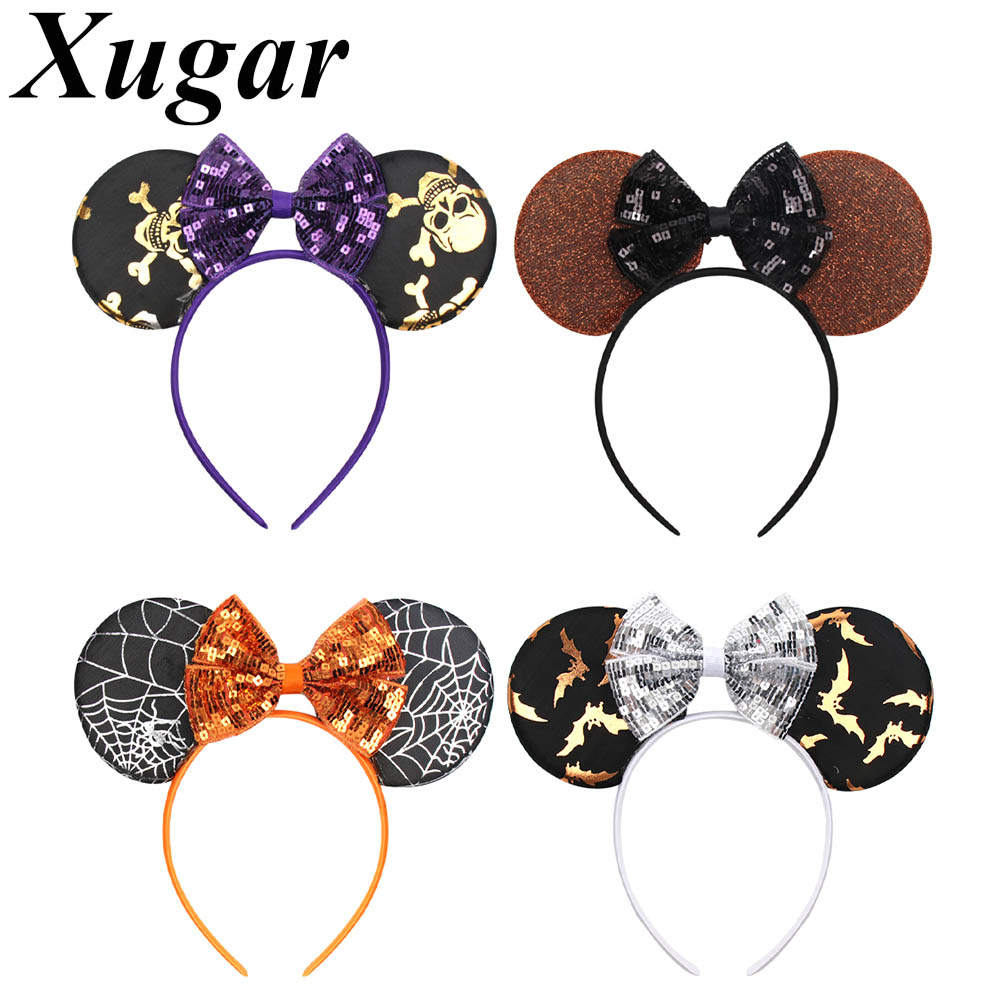 Halloween Minnie Mouse Ears Headband For Girls Printed Sequin Bow Hairband Hair Hoop Dance Party Children Hair Accessories
