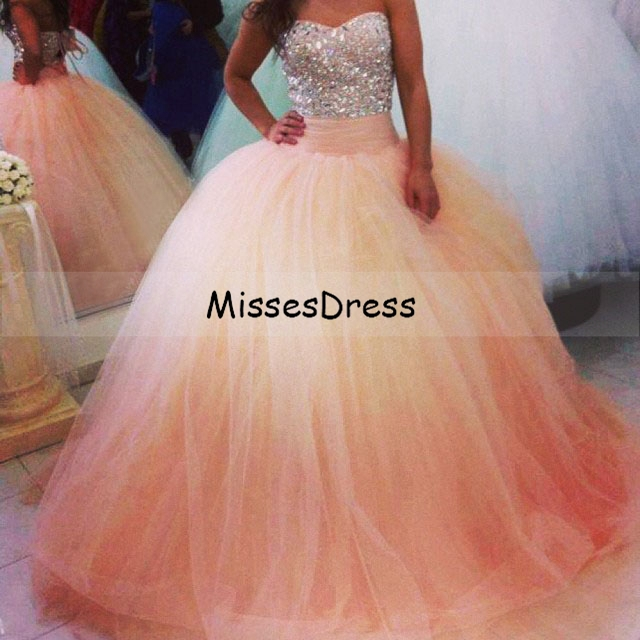 ee6ba457e4 Gorgeous Ball Gown Prom Dresses Sparkly Sweetheart Beads Crystals Pink Tulle  Floor Length Long Prom Dress