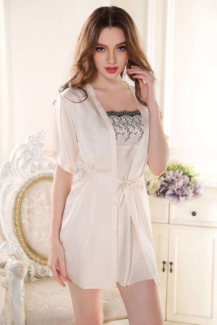 Marque Chemise Blanc 2017 Femmes De Nuit Nouvelle Robe Rose Soie RjLc354Aq