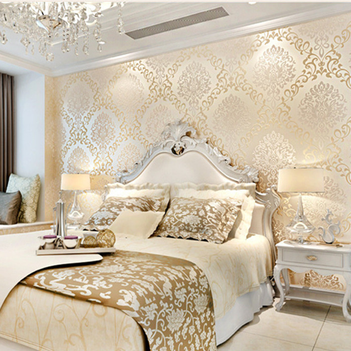 Modern Europe Textured Damask Wallpaper Light Reflection Glitter Fabric  Wall Mural Rolls Luxury Embossed 3d Gold Wall Paper In Wallpapers From Home  ... Part 27