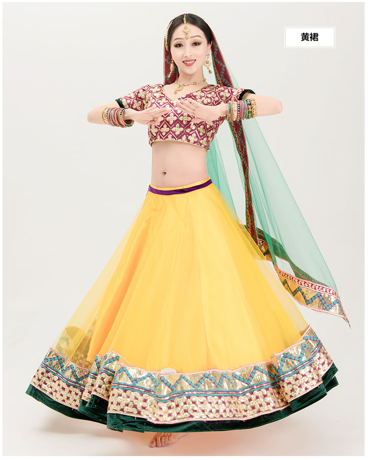 India Sarees Fashion Woman Sets Bellydance Performance Costume Top+Veil+Skirt