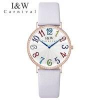 Карнавал Элитный бренд часы Для женщин Швейцарский Импорт кварцевый механизм Для женщин часы Водонепроницаемый натуральная кожа reloj hombre