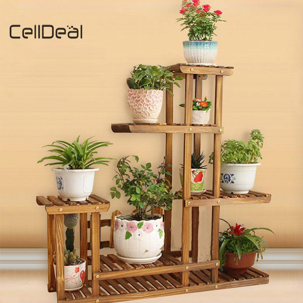 Wooden Plant Stand Flower Rack Multi-layer Flower Pot Display Shelf Garden Balcony Decorations